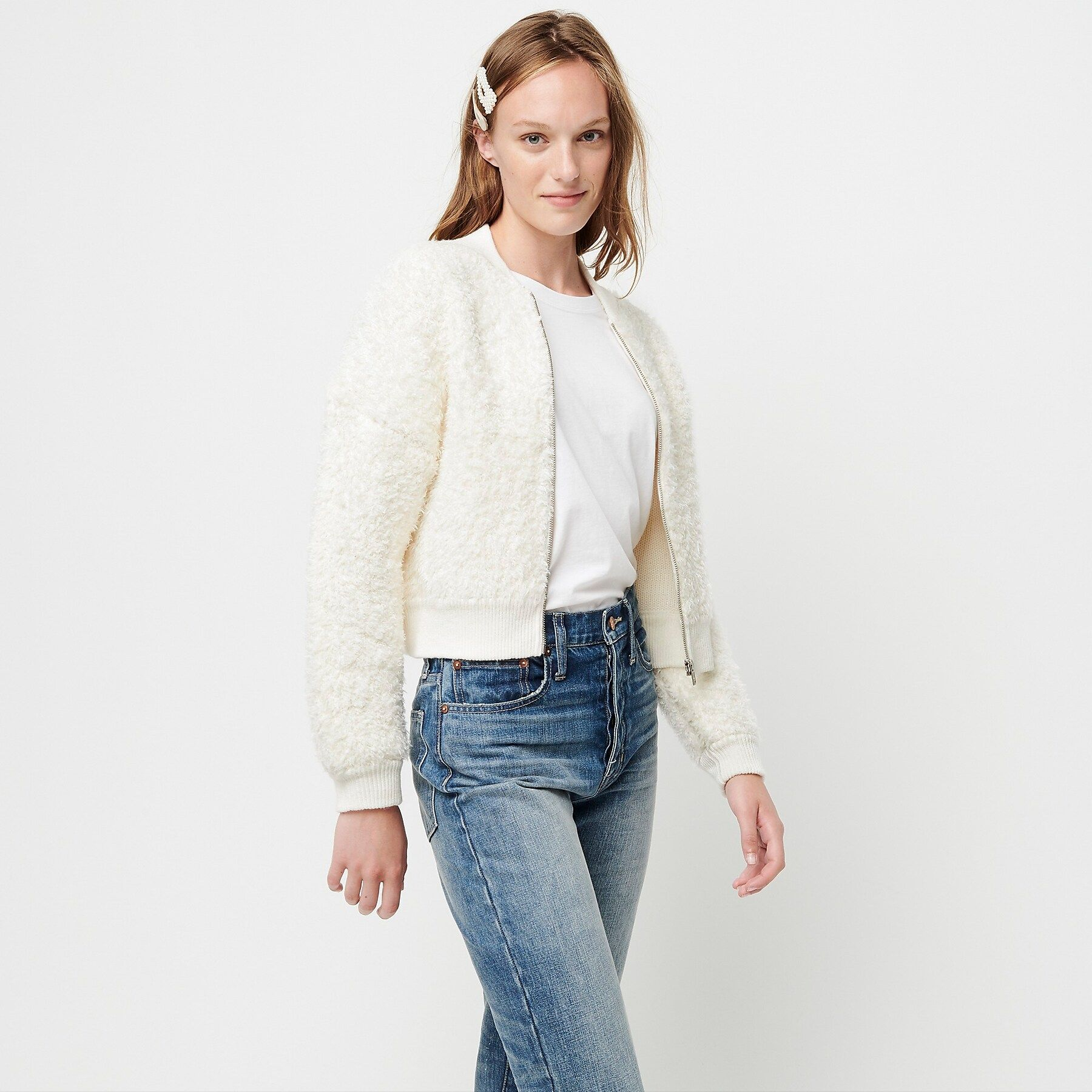 J Crew Fuzzy Bomber Sweater Jacket Sweaters Clothes Sweaters For Women [ 1800 x 1800 Pixel ]