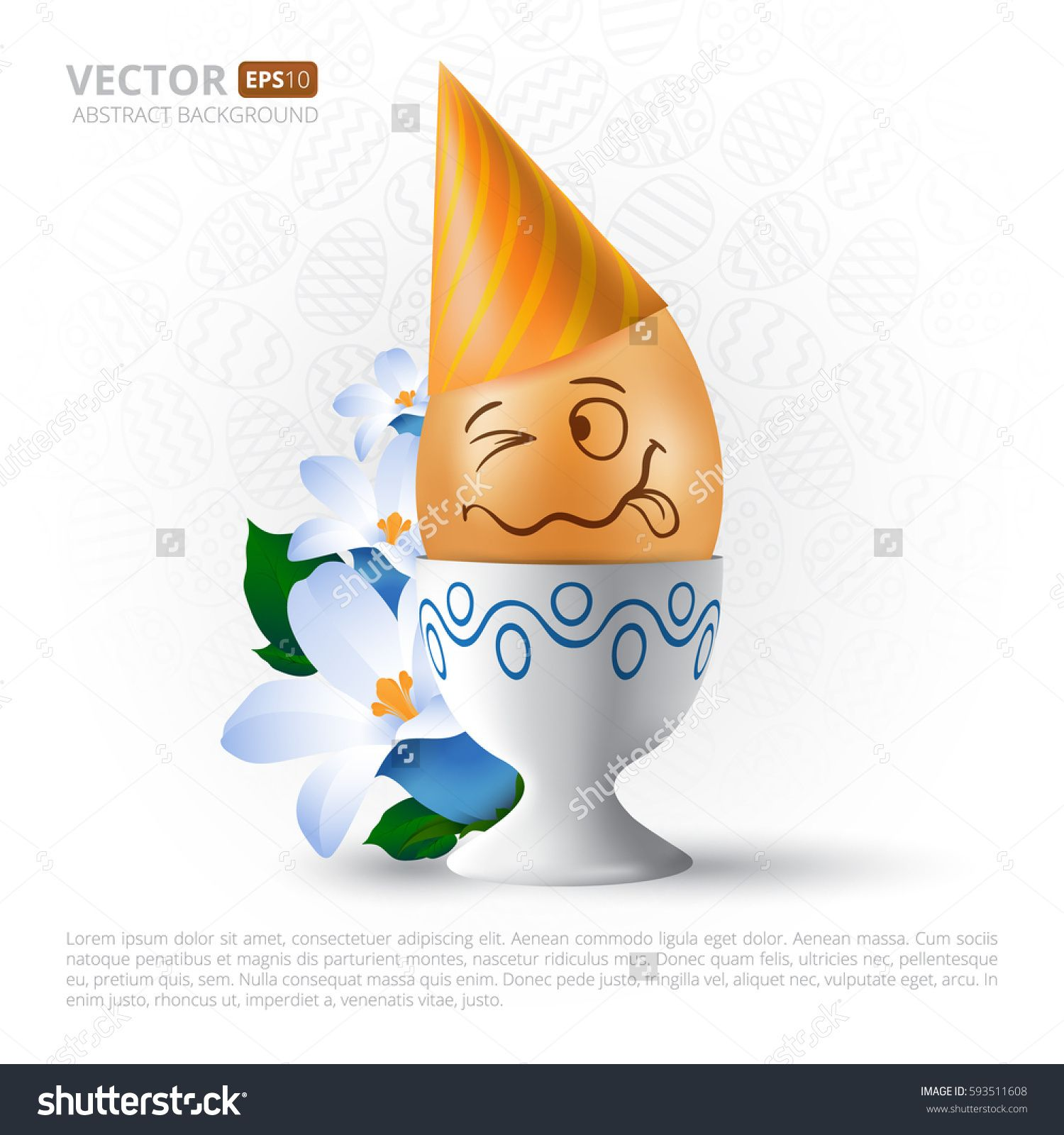 Funny Cartoon Emotional Easter Egg With Painted Face On Stand With
