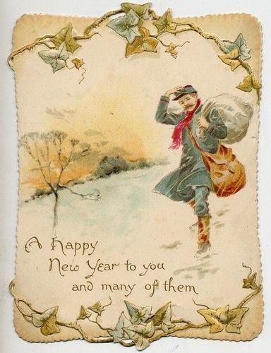 charming original victorian die cut new year card postman in the snow