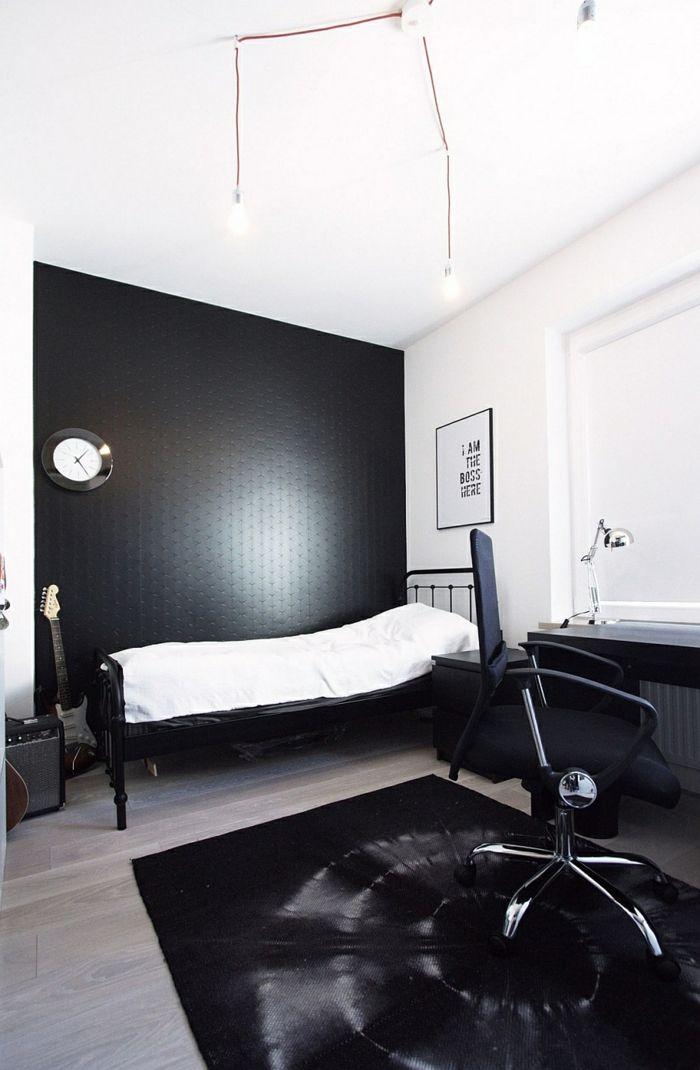 schwarze wandfarbe minimalistisches schlafzimmer schwarzer teppich