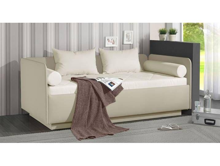Schlafsofa weiß mit Bettkasten 100x200 cm - Eriko - Polsterliege