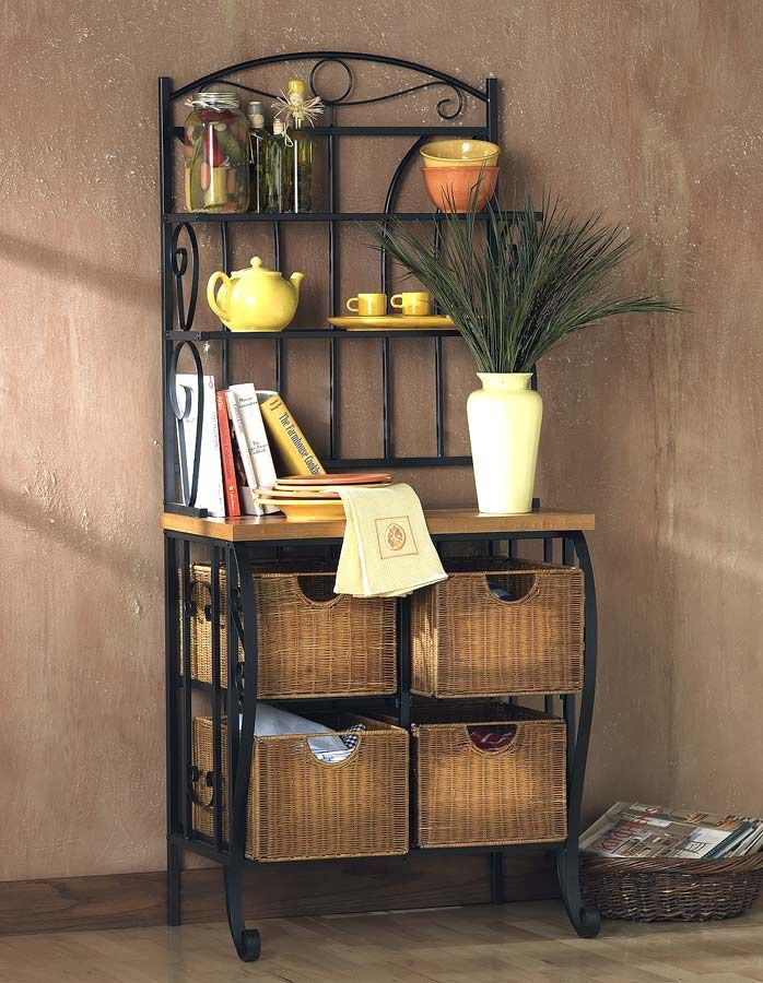 Black Bakers Rack W Wicker Box Drawers Could Double As A Bar Bakers Rack Decorating Decor Bakers Rack