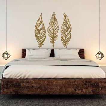 Feathers Wall Decals Tribal Decor Boho Bohemian Bedroom ...
