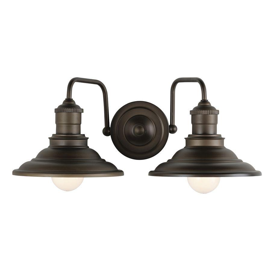 Shop allen roth 2 light hainsbrook aged bronze bathroom vanity light at lowes com