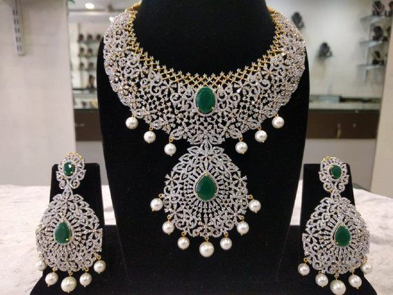 9bff073adf Most Grand Looking Bridal Necklace Set with Earrings in American  Diamonds,Emerald Stones & Pearls (1