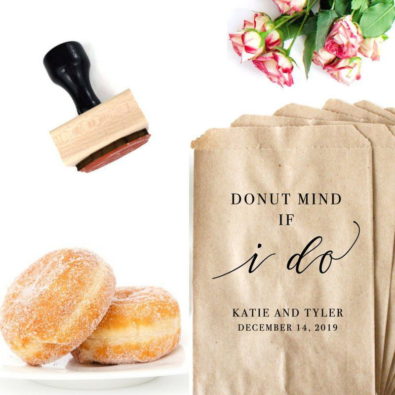 Donut Stand Bags Stamp, Donut Theme Wedding, Donut Mind If I Do, Personalized Wedding Favor, Dessert Table Decor, Sweets Buffet Accessory #personalizedweddingfavors