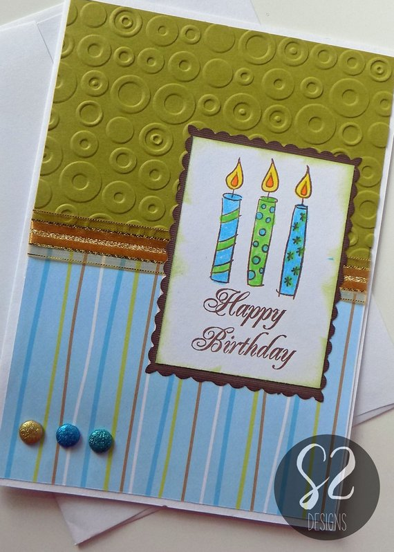 Hand Stamped Green And Blue Candles Birthday Card Etsy Birthday Candle Card Unity Stamps Cards Birthday Cards