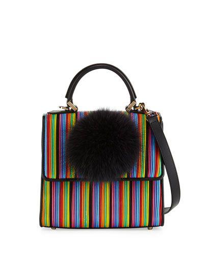 L0N53 Les Petits Joueurs Alex Mini Bunny Striped Shoulder Bag, Multi