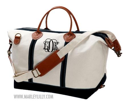 Monogrammed Navy Sunshine Satchel Duffle Bag | Marley Lilly LOVE ...