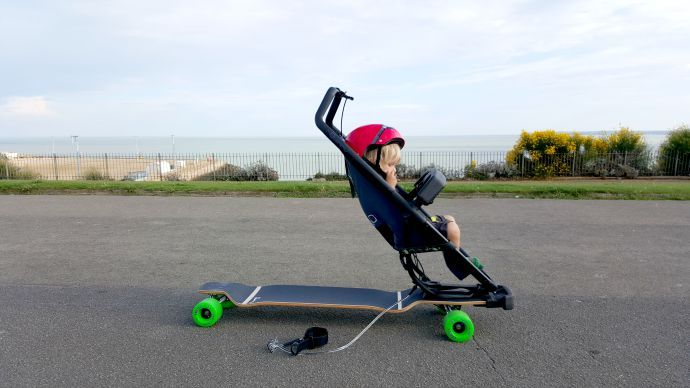 Quinny longboard, Quinny review, sports stroller, skateboard buggy ...