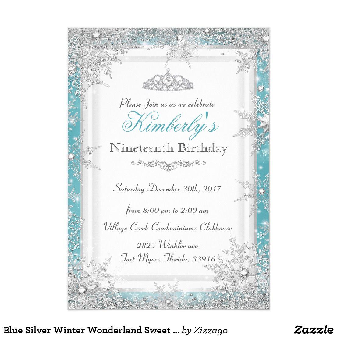 blue silver winter wonderland sweet 16 invitation in 2018 winter
