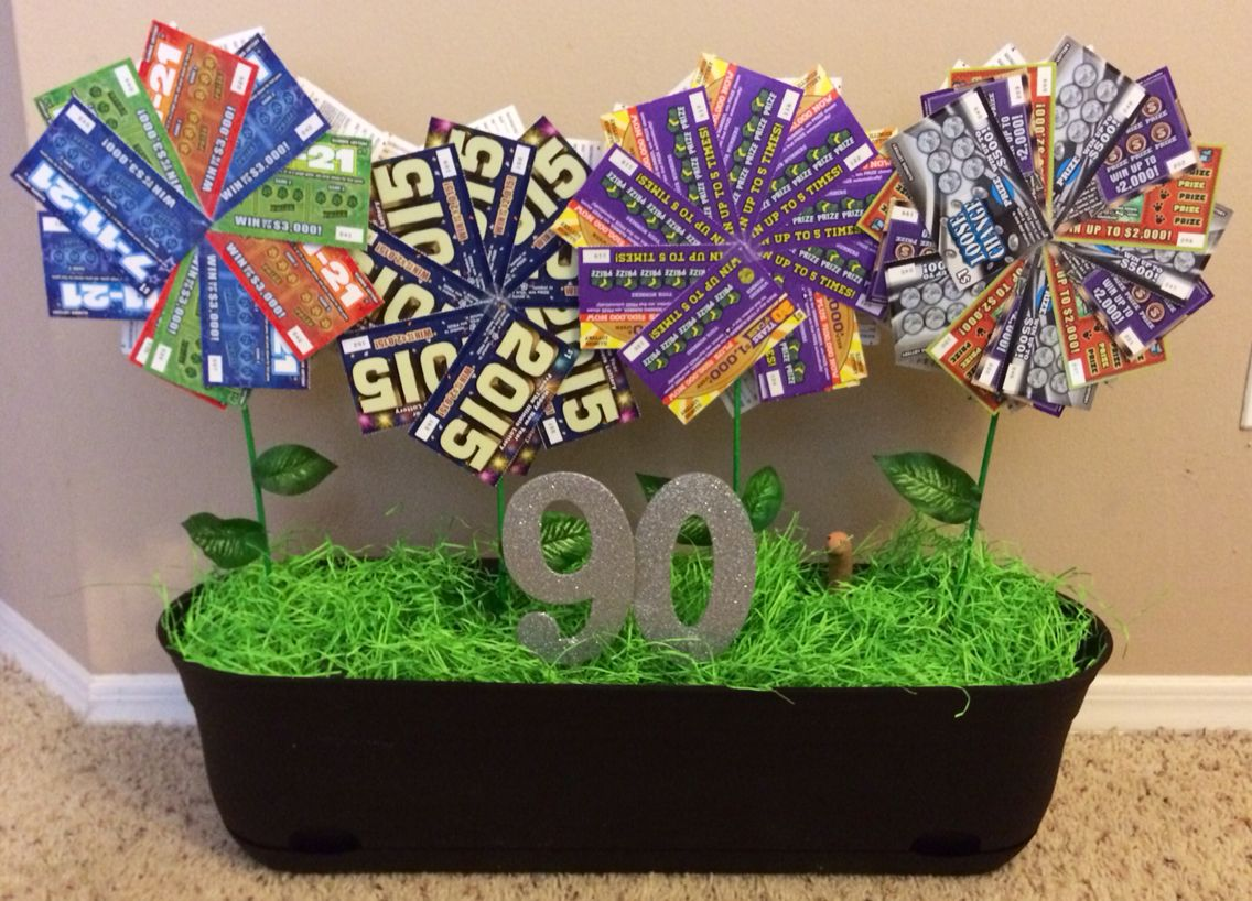 Diy lottery ticket flower pot for a 90th birthday gift