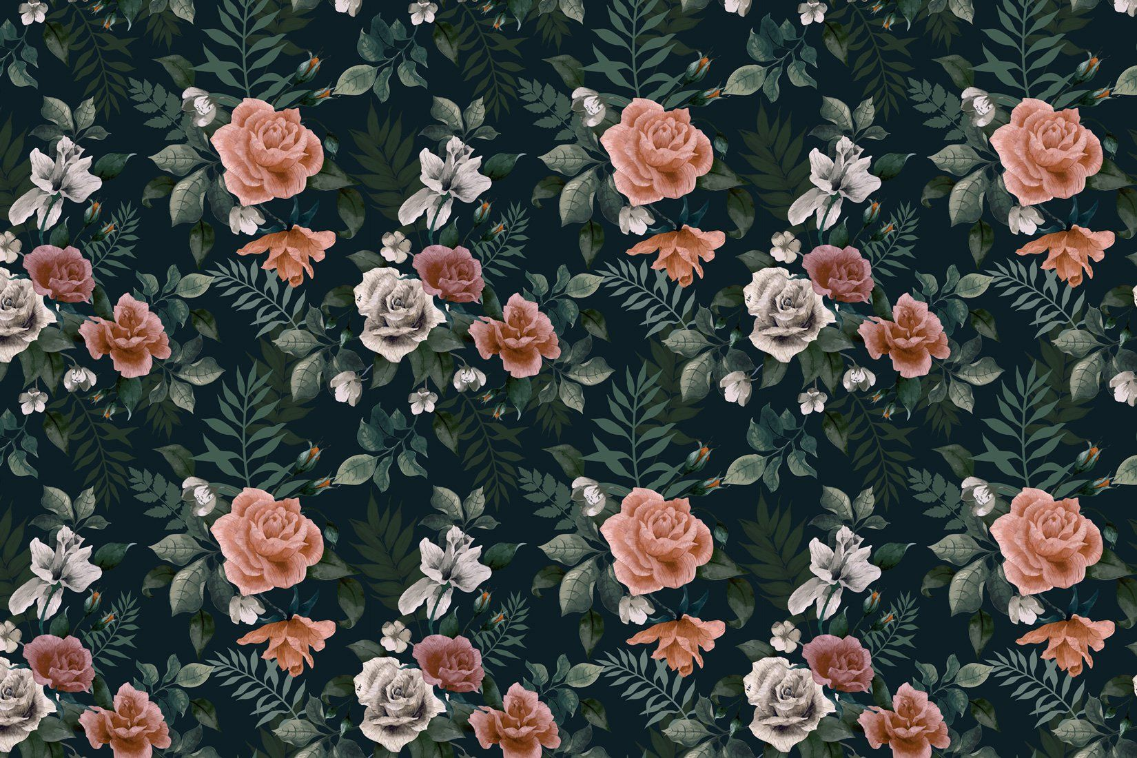 Dark Green And Pink Floral Wall Mural Green Floral Wallpaper