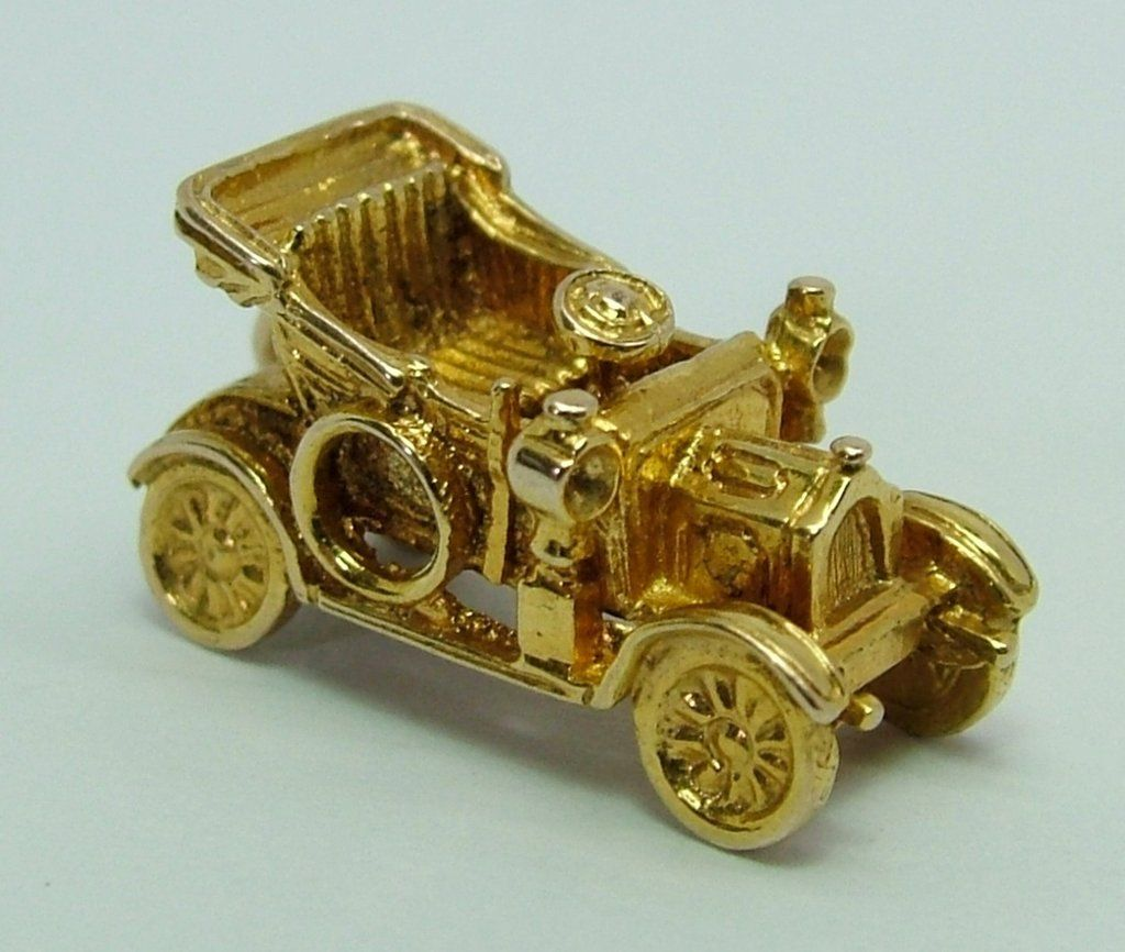16mm Silver Yellow Plated Car Charm