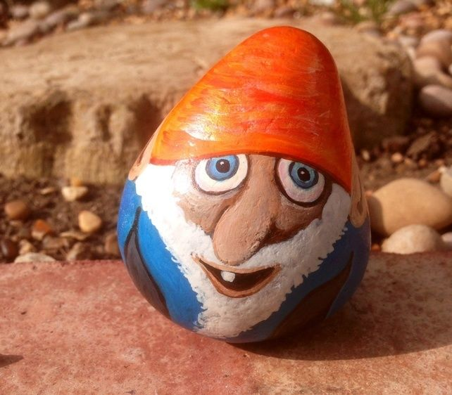 Garden+gnome+hand+painted+on+rock+ £6.00
