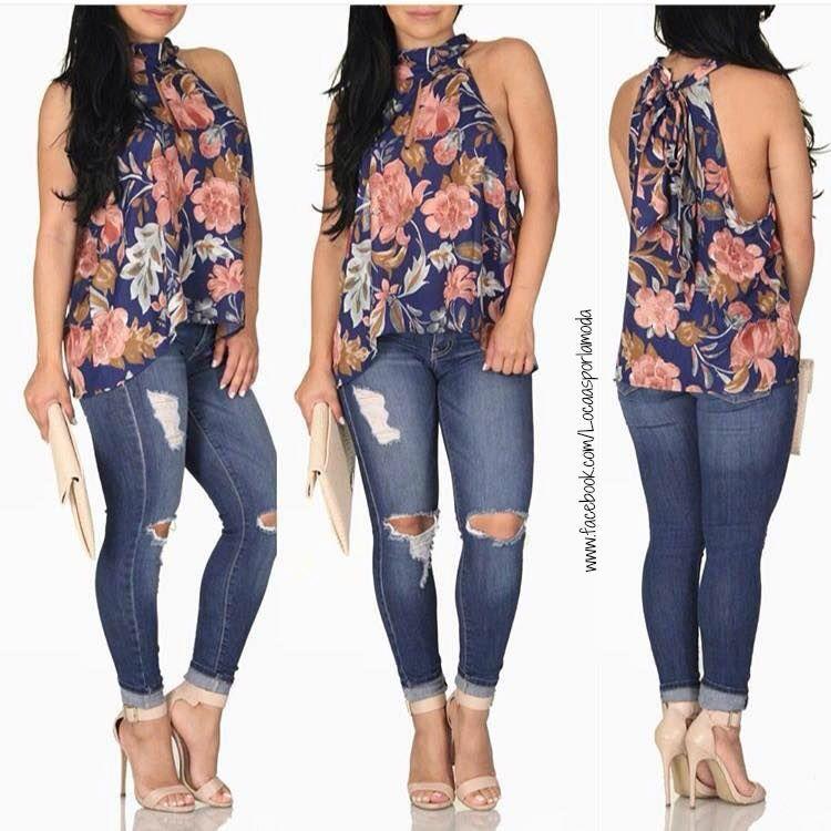 Blusa Floreada Y Pantalon De Mezclilla Women Outfits Fashion
