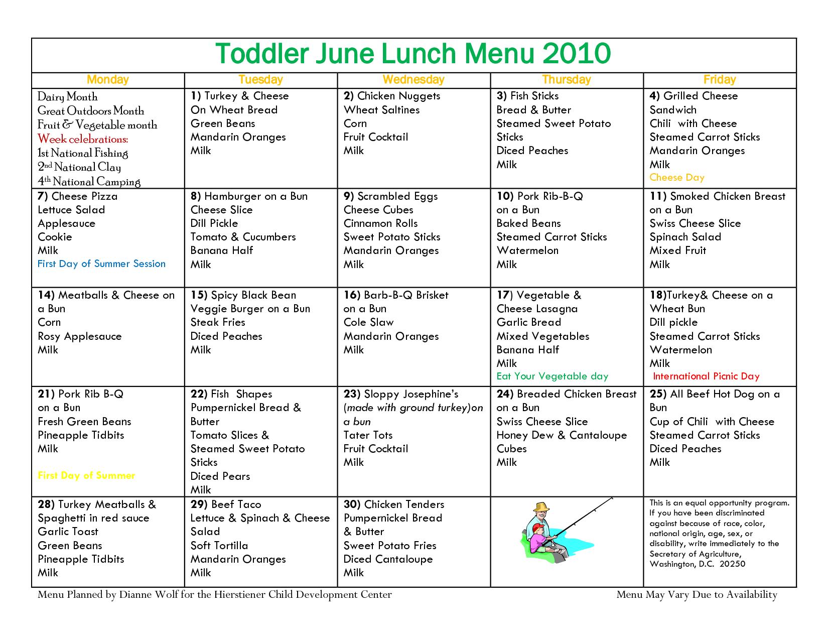TODDLER Menu Sample Toddler April Lunch Menu 2010 – Sample Lunch Menu Template