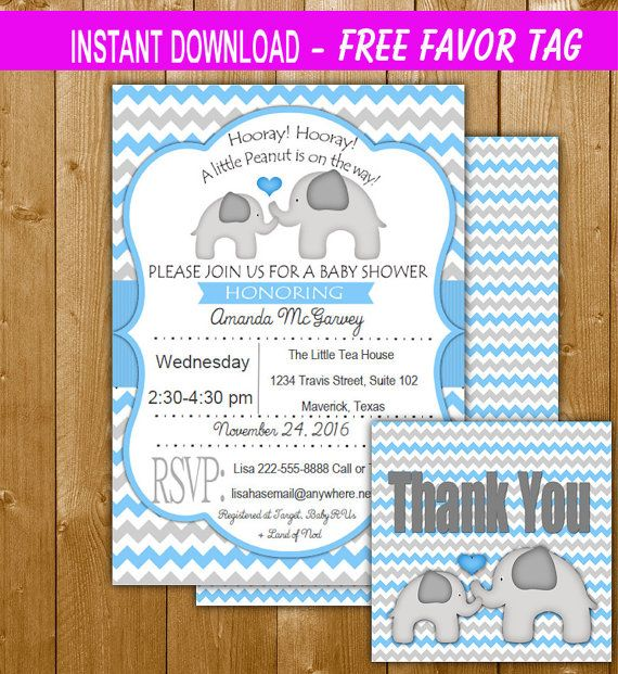 Instant Download Blue Elephant Baby Shower Invitation, Free Favor - download free baby shower invitations