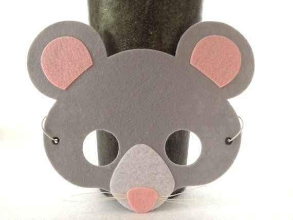 Mouse Mask - Felt Animal Mask -Mouse Costume - Kids Halloween Masks - Pretend Play #mousecrafts