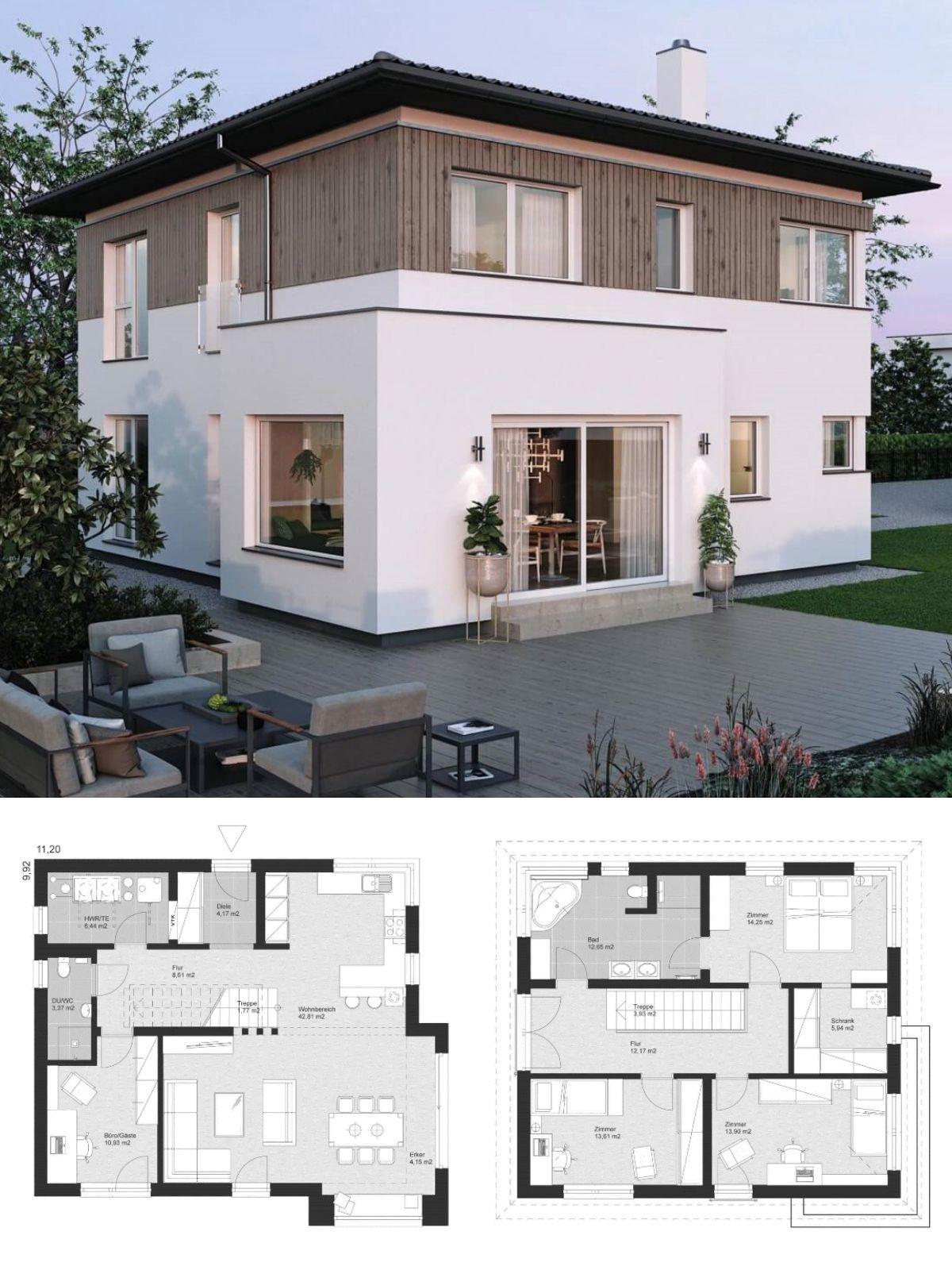 landhaus stadtvilla modern mit walmdach architektur holz fassade einfamilienhaus bauen grundriss ideen elk