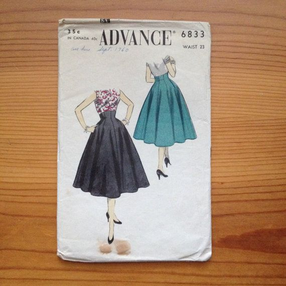 1950's advance sewing pattern 6833 party skirt vintage