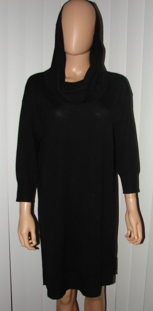 DKNY SIZE L DRESS TUNIC TOP SWEATER TURTLENECK WOOL STYLISH  #DKNY #LittleBlackDress
