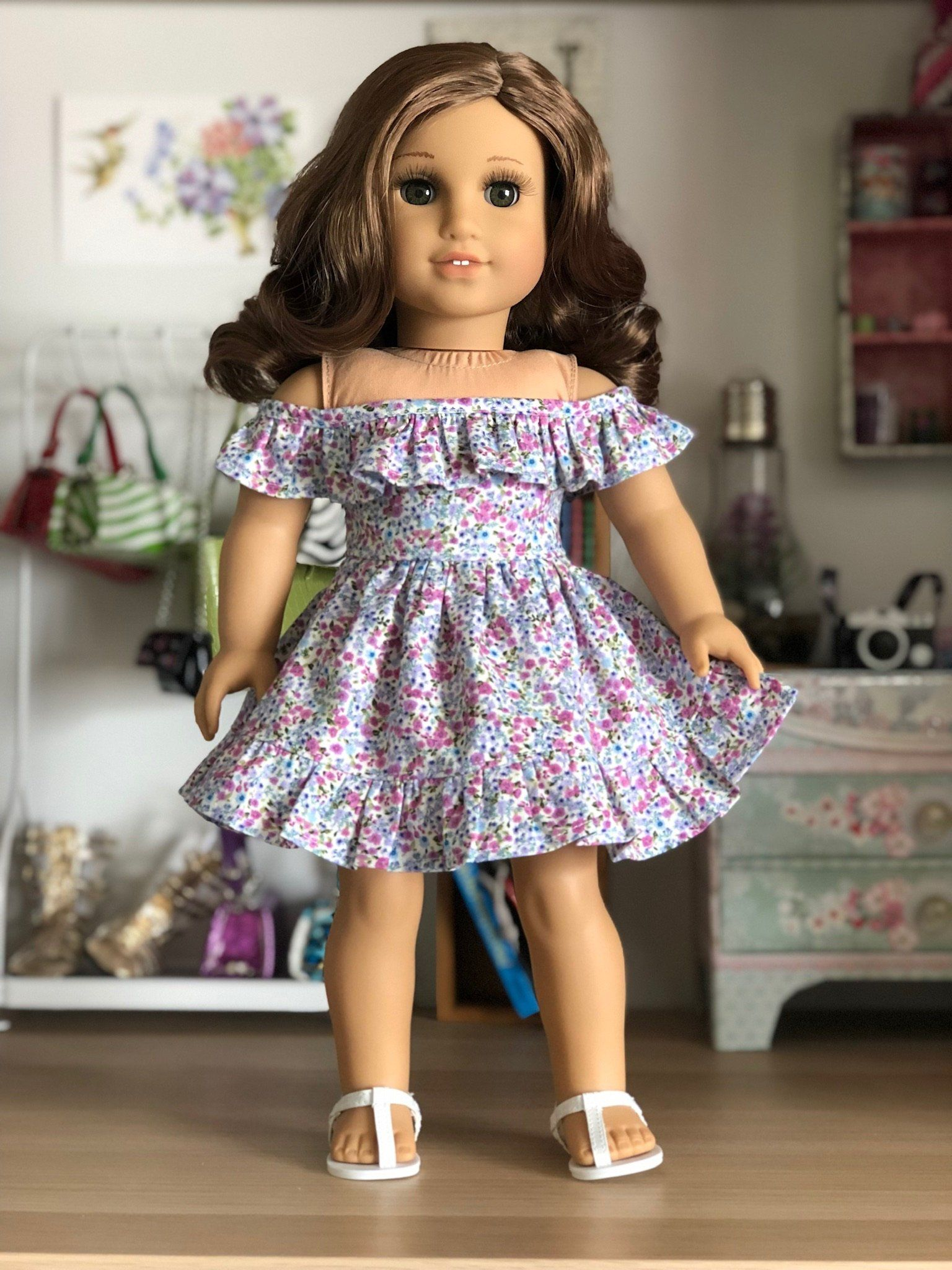 18 inch,18 doll clothes- Off the shoulder sleeveless ruffle dress in a dainty floral print #18inchdollsandclothes