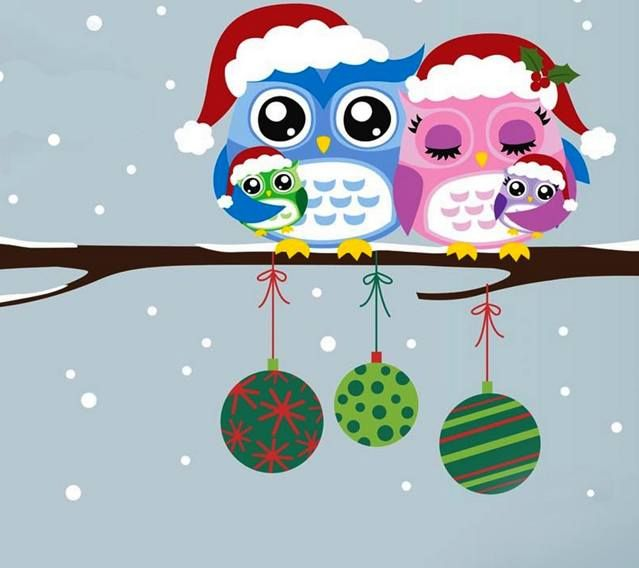 Owls Wallpaper Christmas Adorned For Winter Holidays Flat