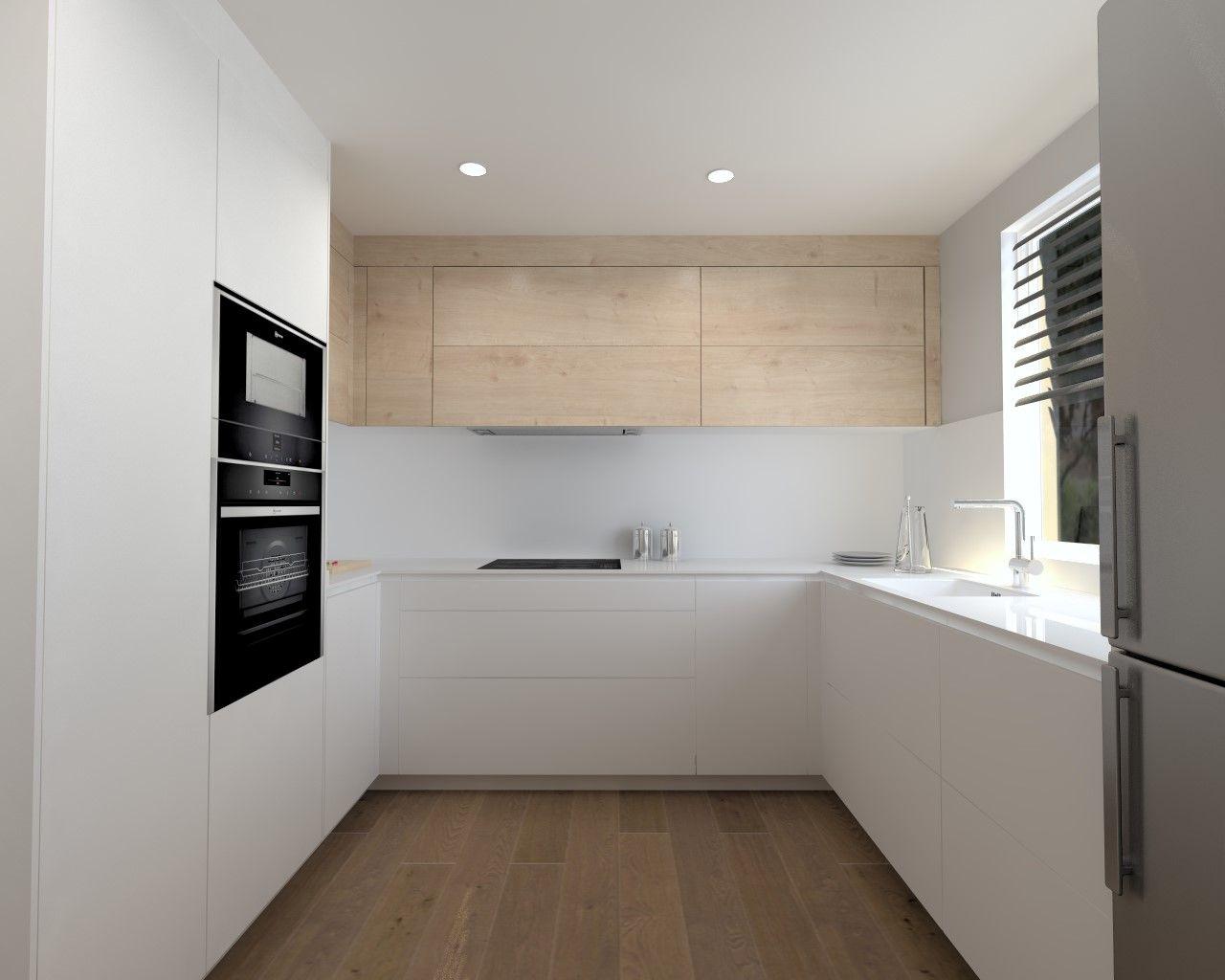 Cocina Santos Modelo Line E 13 Estratificado Blanco Innsbruk Roble Rustico Diseno De Interiores De Cocina Cocinas De Casa Diseno Muebles De Cocina