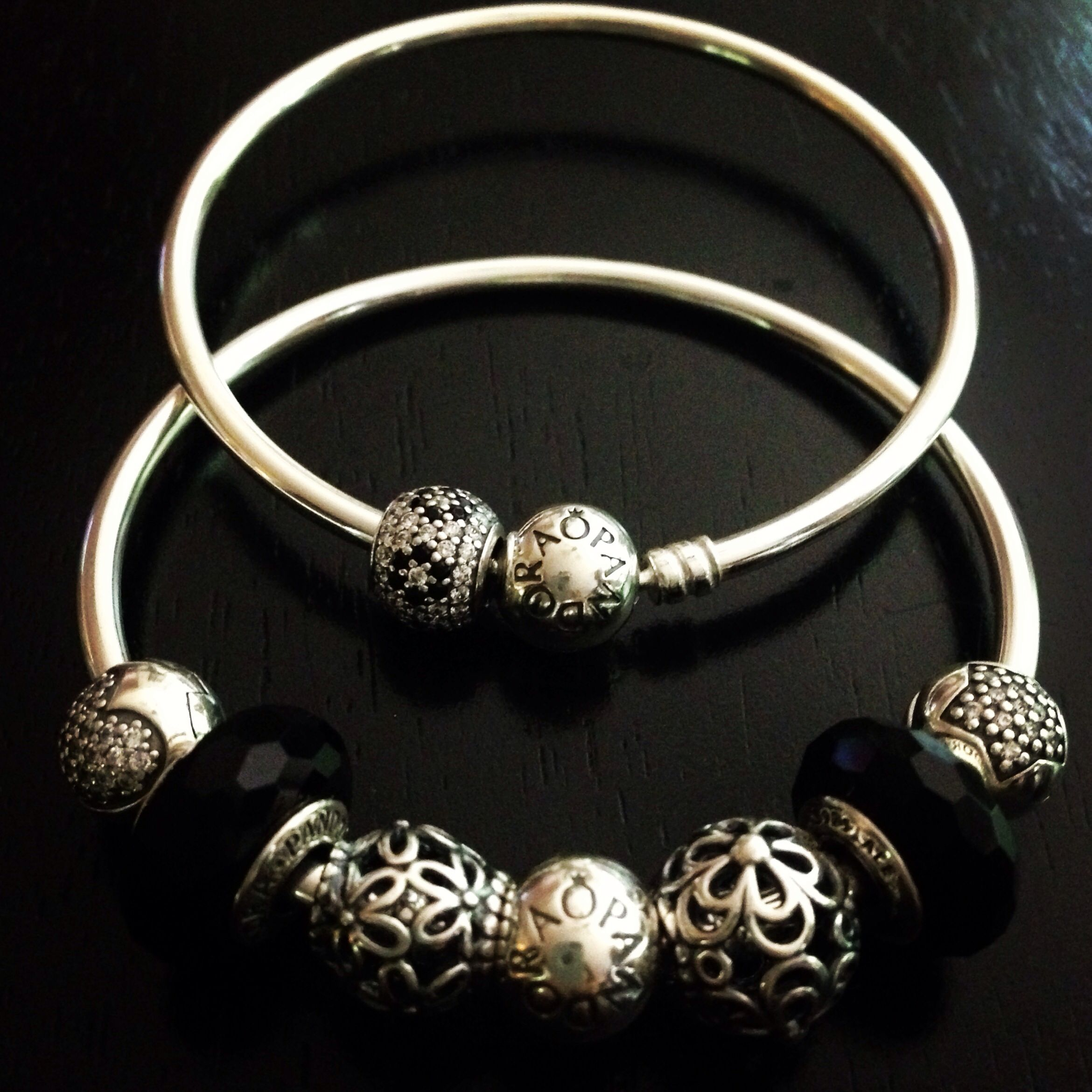 charms bangle with bangles silver and pandora pin black faceted murano cute