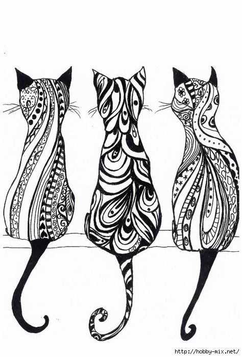 Adorable Bohemian Kitties To Color And Try Out Your New New Color Markers Purrrfect Addition To Your Coloring Pages Hippie Drawing Cat Art Doodle Art