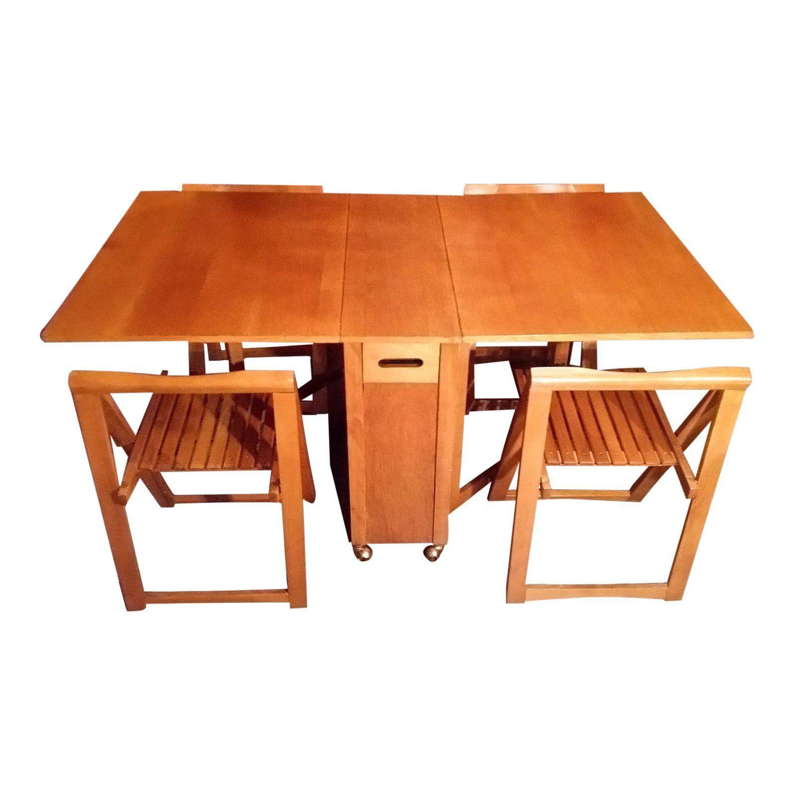Mid Century Drop Leaf Gateleg Dining Table With Stow Away Folding Chairs Space Saver Chairish Dining Table Chairs Dining Table Contemporary Dining Chairs Drop leaf table and chairs