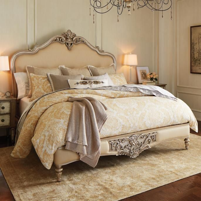 Marchand Upholstered Carved Bed