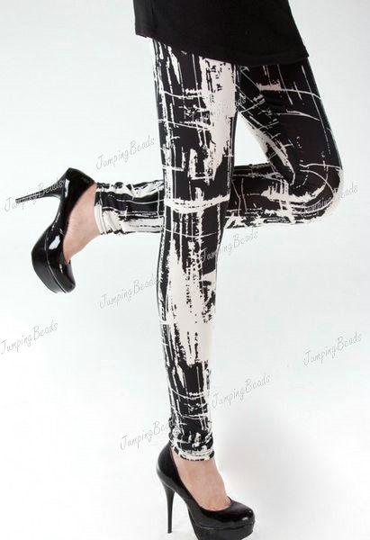 Black White Rock Punk Leggings Tights Pants Bodycon Milk Silk