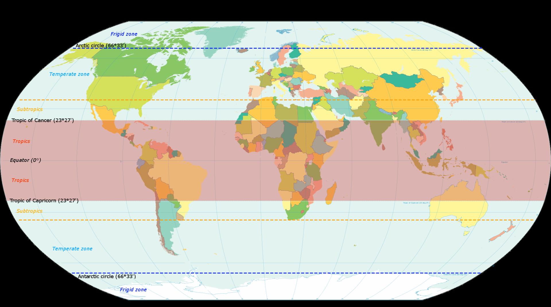 World Map Indicating Tropics And Subtropics