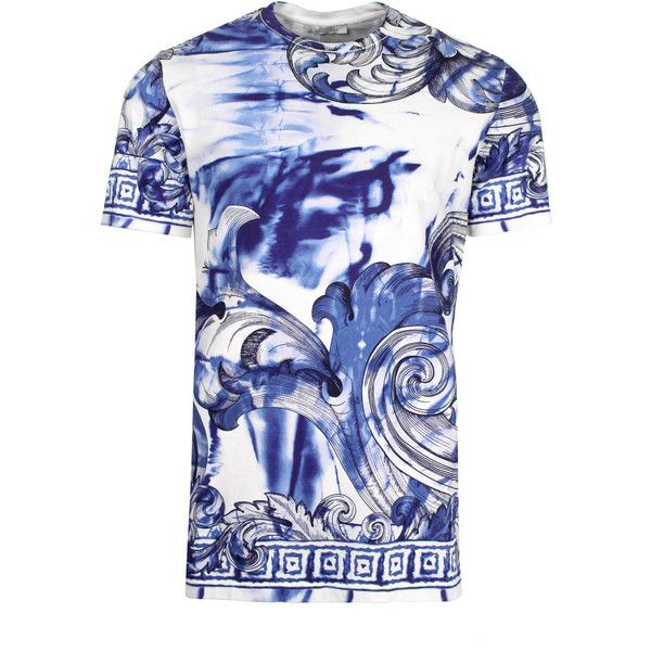 bc9bb29a Versace Collection Tie and Dye Baroque Hand Painted T-Shirt in white/blue/