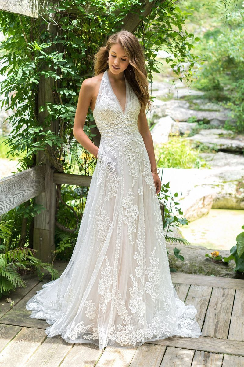 Lillian West Boho Chic And Romantic Wedding Gowns Lillian West Wedding Dress Halter Wedding Dress Wedding Dress With Pockets