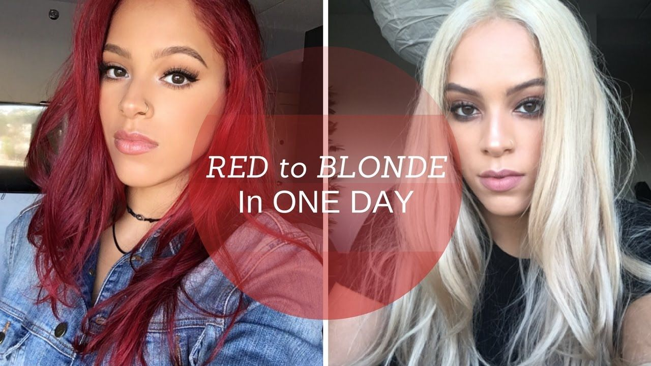Red To Blonde Hair In One Day Red Blonde Hair Red To Blonde