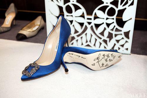 Sjp Manolo Blahnik Shoes Manolo Blahnik Blue Satin Heels Manolo