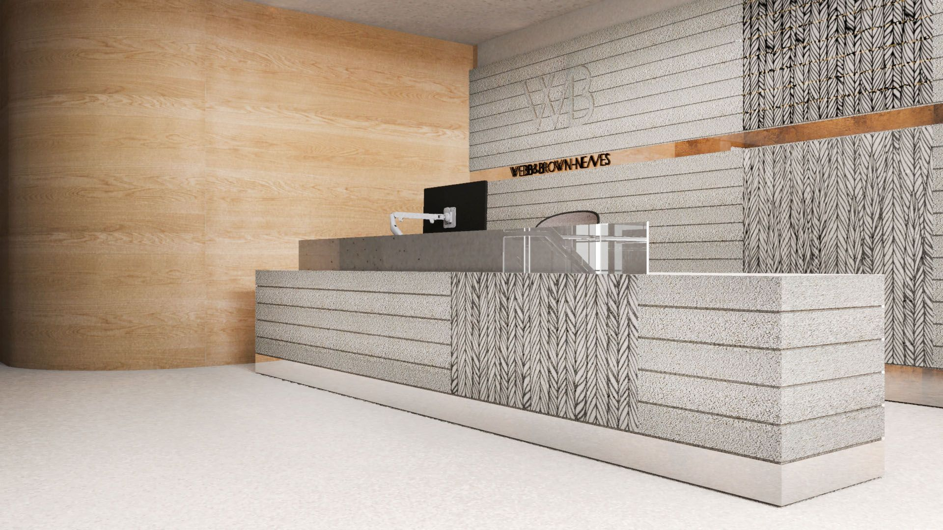 Mkdc 3d render concrete reception desk mkdc 3d for Office table 3d design
