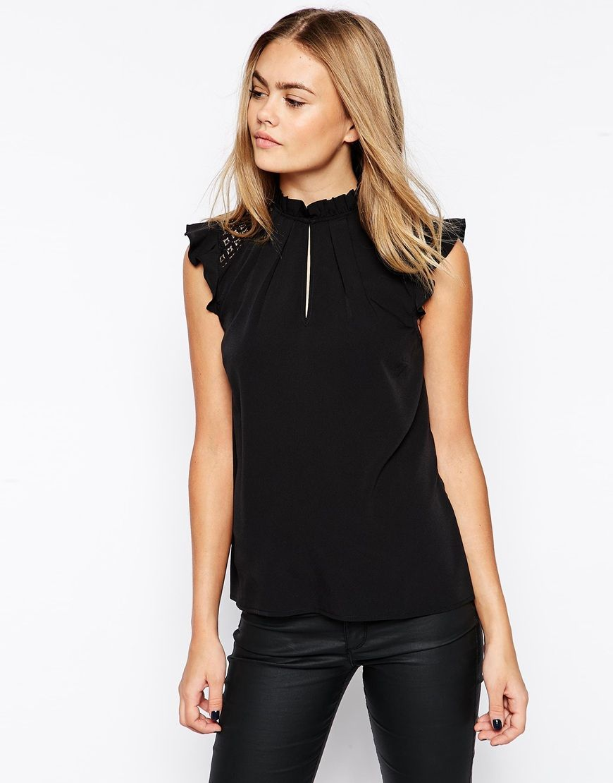 7ef022a960a717 asos Sleeveless Frill Trim Collar Top With Lace Yoke Detail