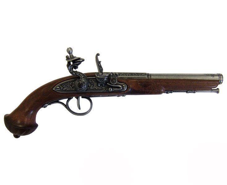 Pirat, piratlajv. Rekvisita, replik, kopia. Pistol, flintlås, flintlåspistol, 1700-tal ...