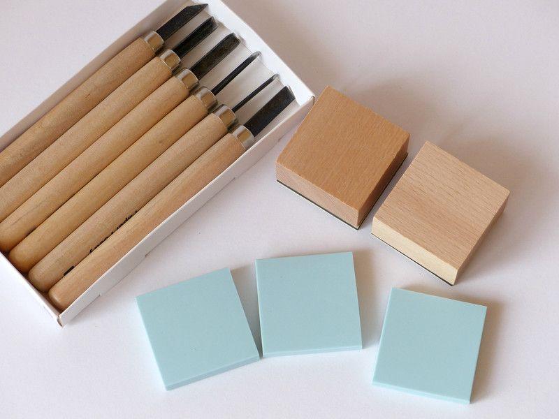 stempel selber machen set mit werkzeug quadratisch von frau zwerg auf frau zwerg. Black Bedroom Furniture Sets. Home Design Ideas