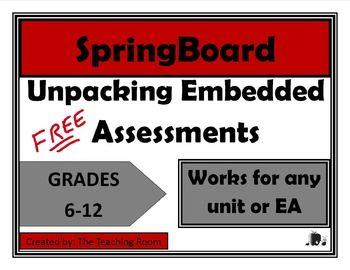 Springboard Unpacking The Embedded Assessment Spring Boards Teaching Methods Assessment