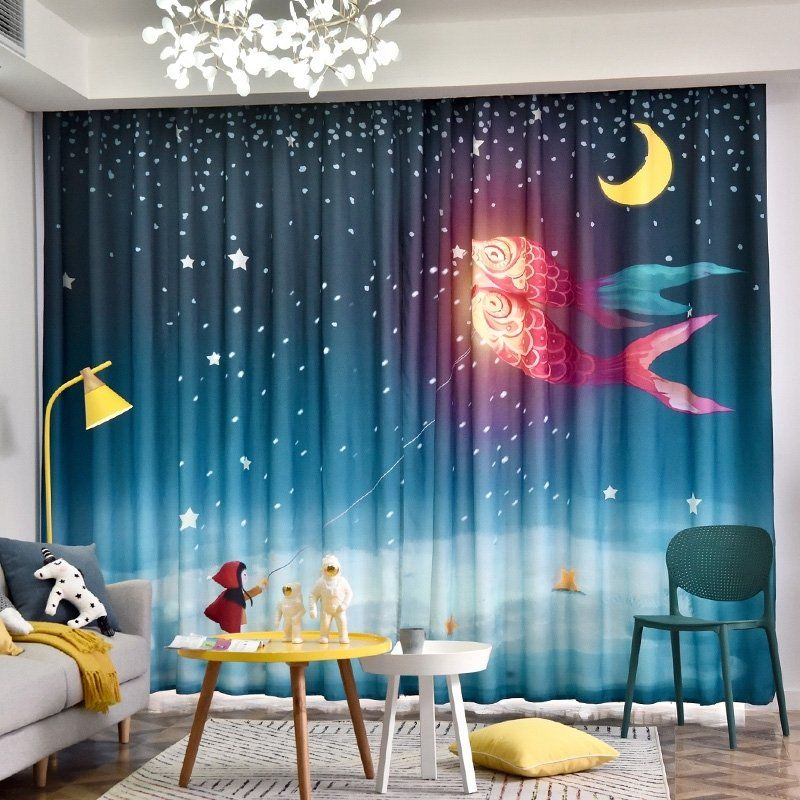 Midnight Galaxy Scene Space Dream Moon And Star Kids Dream Moon Curtains Bedroom Curtains