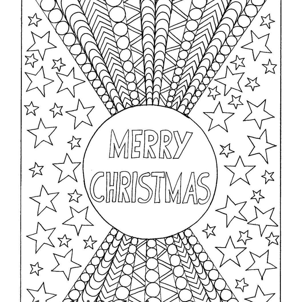 Merry Christmas Coloring page Instant PDF Download Digital