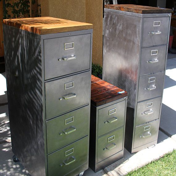 Refinished 5 Drawer Metal Filing Cabinet W/ Or W/o Solid Wood