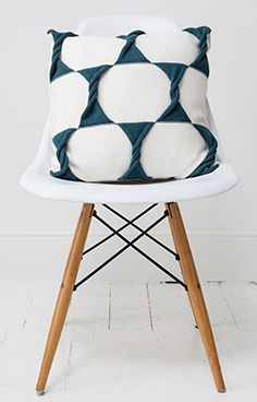 Twist Cushion in Cream/Teal by From Brighton With Love - Stand D01 Hall T1 Tent London 2015 www.frombrightonwithlove.com