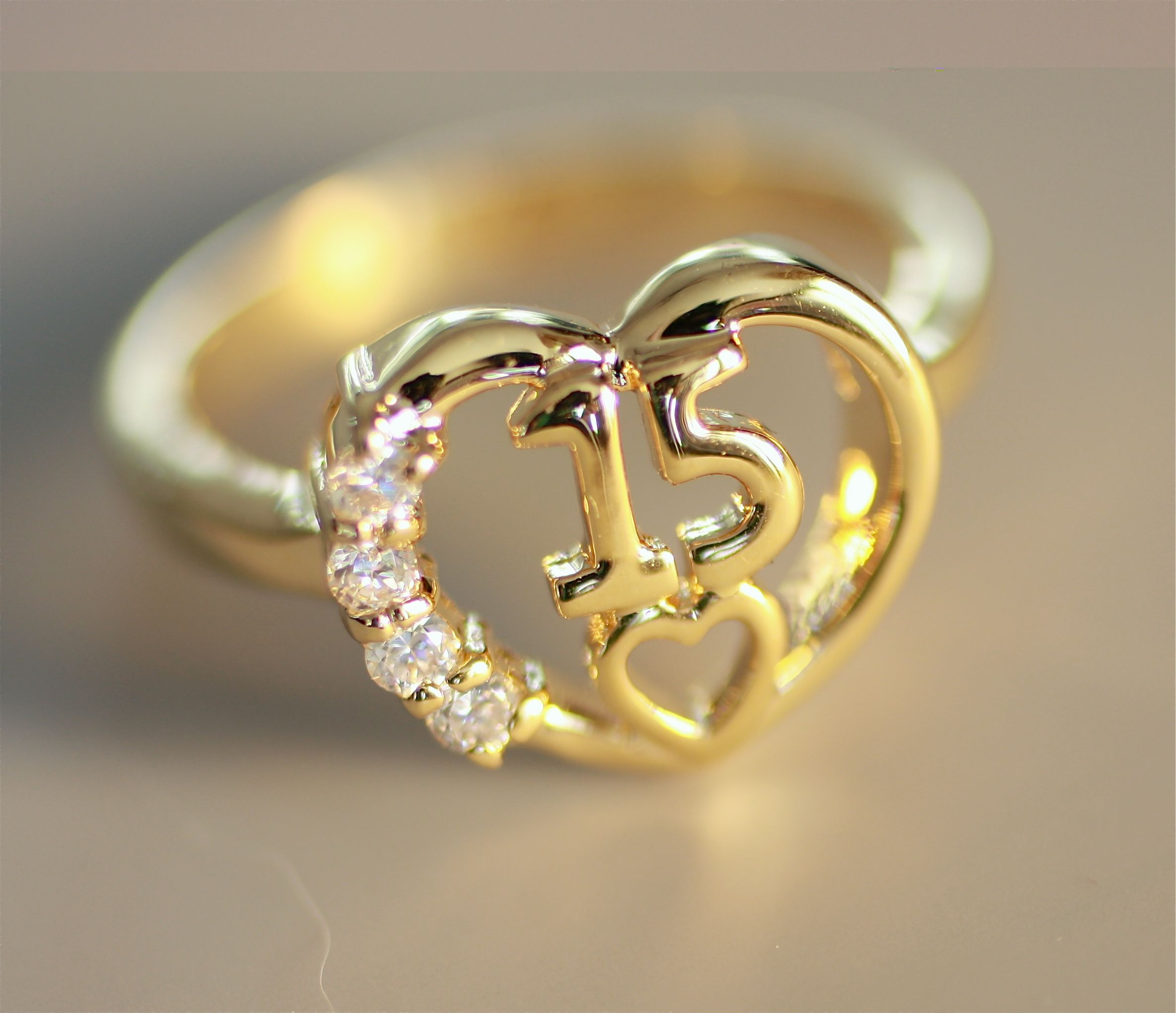 itm fancy rings gold quince heart cz quinceanera yellow ring love band s solid flower