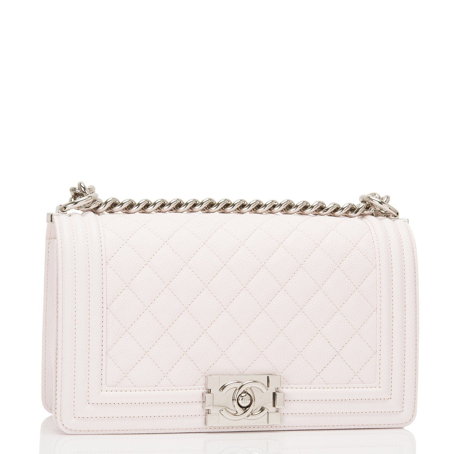 f17ff5a75976 Chanel White Caviar Quilted Medium Boy Bag